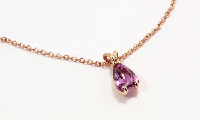 1. Jon Dibben pink sapphire Sail pendant, made in 18ct red gold. £3670 down to £2753